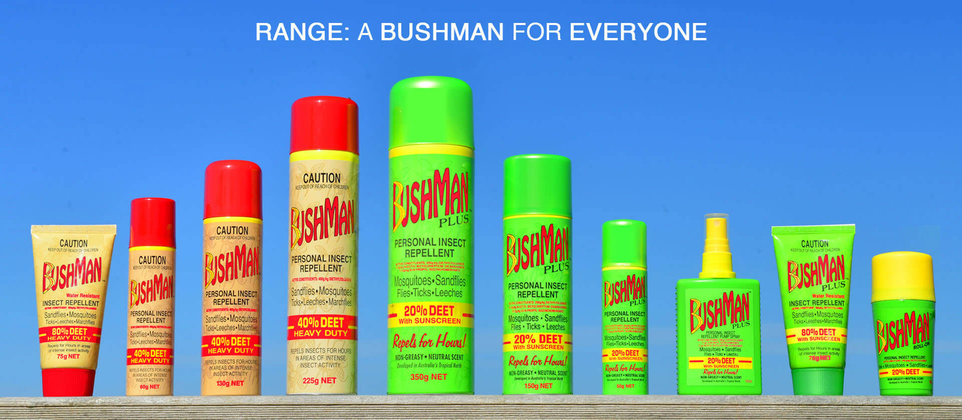 All bushman products inline on a bench banner image
