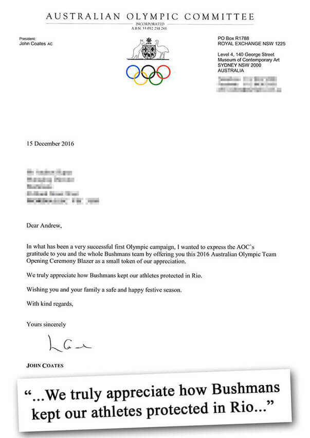 Letter of appreciation from the Australian Olympic Committee sent to Bushman