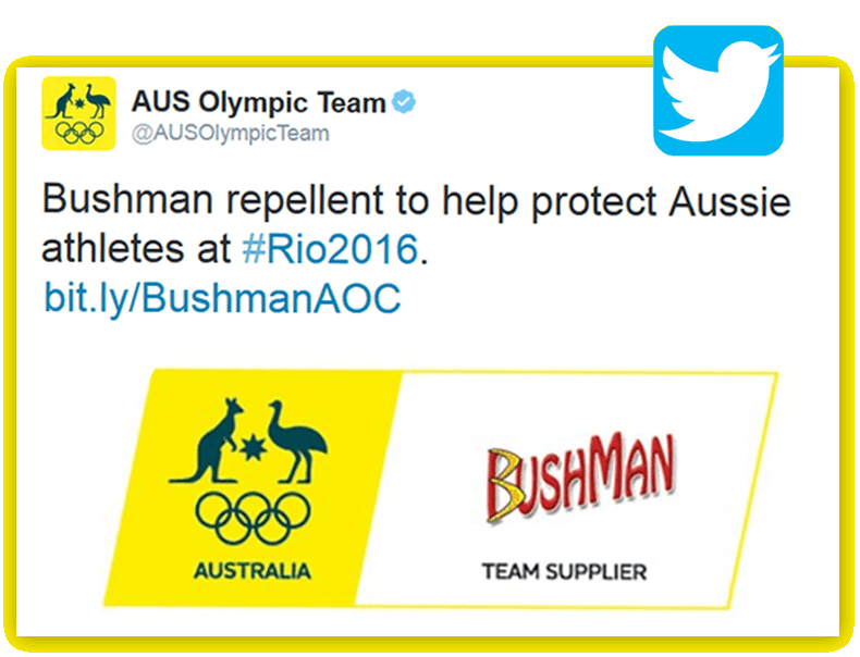 Tweet from the Australian Olympic team which reads that Bushman repellent will help protect Aussie athletes at Rio2016